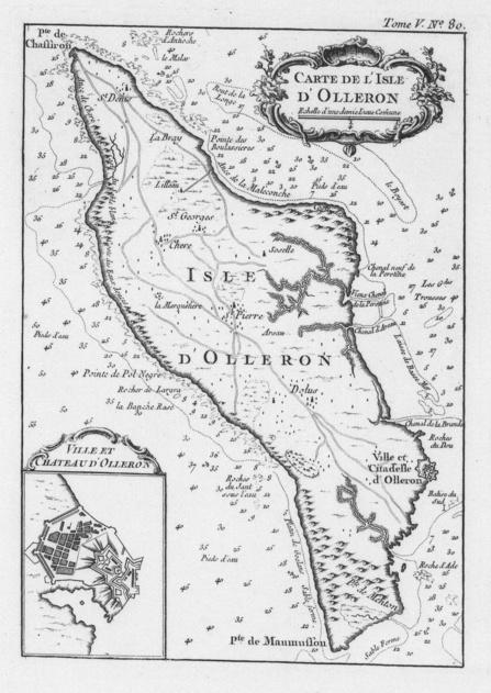 Carte de l'Isle d'Olleron par Jacques-Nicolas Bellin en 1764
