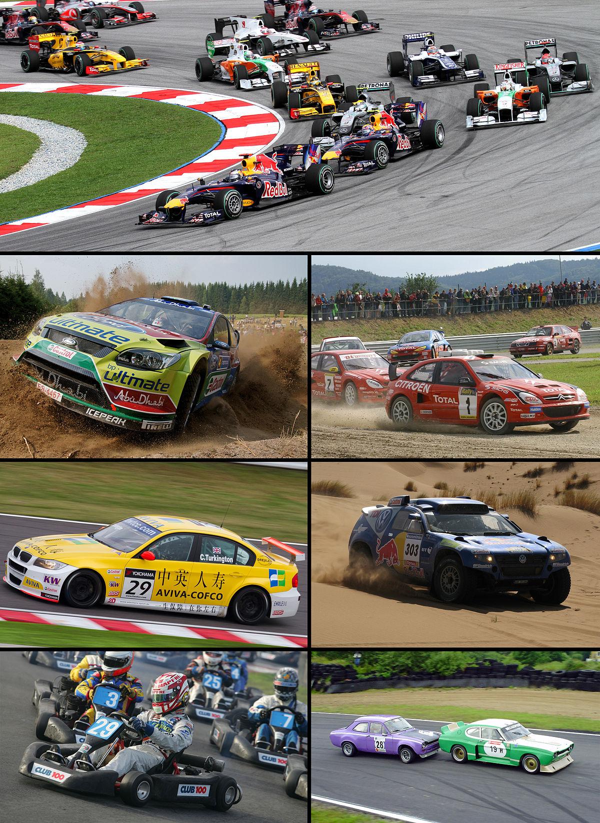 Sport automobile, circuit fermé, rallye et karting