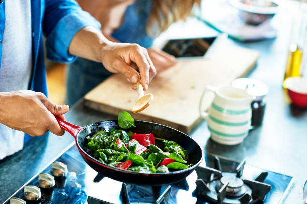 Recette de cuisine avec cuisson au gaz
